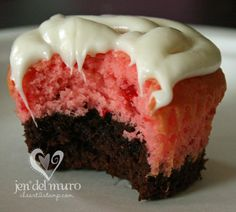 Brownie mix on the bottom, then strawberry cake mix and topped with vanilla icing.