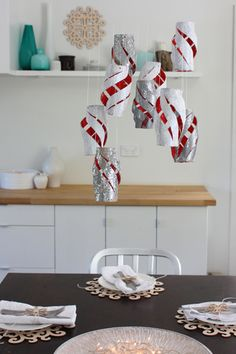 Glitter hanging lantern centerpiece... made from toilet paper tubes