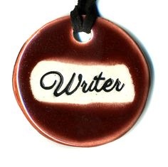Writer a Ceramic Necklace in Red Wine by surly on Etsy, $18.00