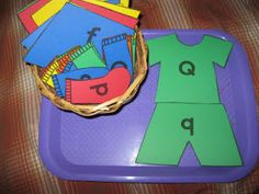 Clothing study: work station, matching upper to lower case letters. For differentiation create a set of matching upper to upper case or lower to lower case as needed. The Preschool Experiment: Tot Trays: Laundry Theme