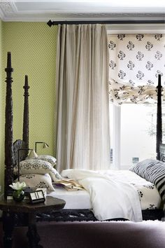 Green Bedroom with Ruched Blinds in Country Bedroom Design Ideas, bedroom with small scale dotted wallpaper and striped curtains underlaid with floral blinds, turned post bed. Curtain Styles, Curtain Designs, Country Bedroom Design, English Decor, Curtains With Blinds, Striped Curtains, Bedroom Curtains, Bedroom Décor, Bedroom Furniture