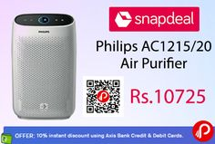 Snapdeal #Bestselling Product is offering #Philips AC1215/20 #AirPurifier Just at Rs.10725. 10% instant discount using Axis Bank Credit & Debit Cards. HEPA Filter,  http://www.paisebachaoindia.com/philips-ac121520-air-purifier-just-at-rs-10725-10-off-from-axis-bank-snapdeal/