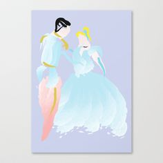 Disney - Cinderella and Prince Charming Stretched Canvas by Jessica Slater Design & Illustration - $85.00