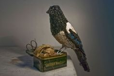 Donya Coward Magpie In Flight Anthropologie Not antique but this artist is so amazing it deserves two pins on my boards. Please visit her website. Crows Ravens, Fabric Birds, Milk Paint, Textile Artists, Magpie, Bead Art, Creative Inspiration, Fiber Art, Textiles