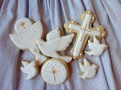 Cookies Galletas Decoradas | COOKIES PRIMERA COMUNIÓN Kawaii Cookies, Baby Cookies, Cute Cookies, Easter Cookies, Cupcake Cookies, Christening Cookies, Christening Party, Baptism Party, First Communion Cakes