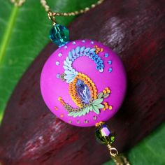 color carnival  vibrant long necklace by ChiliCrab on Etsy