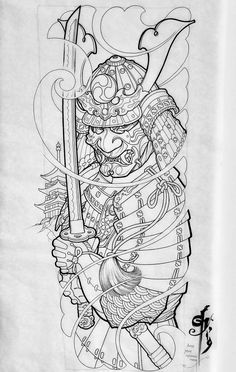 Japanese Warrior Tattoo, Japanese Tattoo Art, Japanese Tattoo Designs, Japanese Sleeve Tattoos, Japanese Tattoos For Men, Mascara Samurai Tattoo, Samurai Warrior Tattoo, Warrior Tattoos, Samurai Tattoo Sleeve