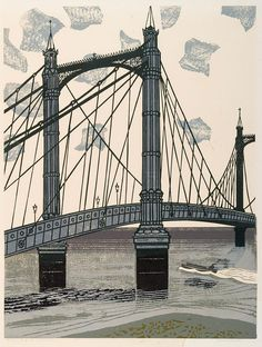 Edward BAWDEN Albert Bridge (1966) From Nine London Monuments, an original linocut in colours on wove paper. Signed boldly in ballpoint pen lower right and titled and numbered lower left, one of 75 Artist's Proofs