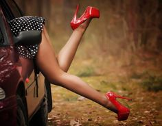 Red shoes and polka dotted skirt