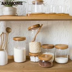Cheap spice jar, Buy Quality glass spice jars directly from China candy jar Suppliers: Japan Zakka Style Glass Spice Jar Kitchen Canisters Cookie Jars Wooden Lid 3 Pieces Spices Storage Box Candy Jar High Quality Glass Food Storage, Food Storage Boxes, Diy Kitchen Storage, Jar Storage, Pantry Storage, Glass Spice Jars, Glass Jars, Cocina Diy, Kitchen Canisters
