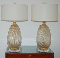 Barovier & Toso Murano Lamps in Clear with Gold Dust | Swank Lighting