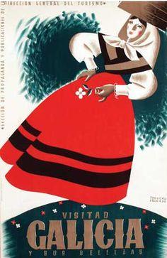 Poster cartel publicitario By Teodoro Delgado (1907-1975), ca 1950, Visitad Galicia.