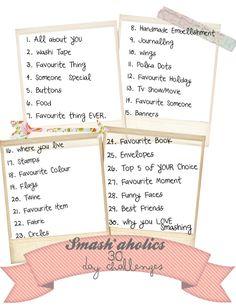 Smash*aholics: Smash*aholics 30 Day Challenge List