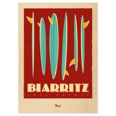 Biarritz by Marcel Marcel, Surfing Photos, Surf Decor, Inspiration Art, Biarritz, Retro Illustration, Aquitaine, Vintage Travel Posters, Illustrations Posters