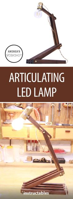Articulating LED Lamp  #lighting #woodworking