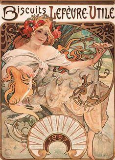 Titre de l'image : Alphonse Mucha - Biscuits Lefevre-Utile, 1896. (Plakat und Jahreskalender 1897).
