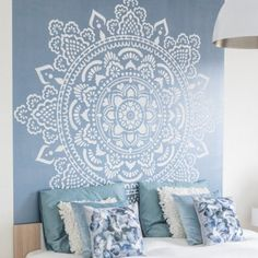 Mandala wall stencils DIY for home of work place decor. Mandala Ibiza wall stencils to pimp your home, garden, office, shop, restaurant or club! We have 8 different mandalas in different sizes from which you can choose! Mandala Tapestry, Mandala Art, Mandala On Wall, Wall Tapestry, Tapestry Nature, Tapestry Bedroom, Mandala Design, Stencils Mandala, Stenciled Floor
