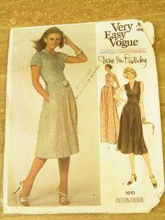 70s Diane Von Furstenberg Wrap Dress Vogue 1610 s/s Sz 8, B 31 1/2 145+2 seller:  luanaserenata