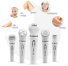 Kemei 5 in 1 Epilator Women Shaver Hair Removal Facial Cleansing Brush Face Skin Care Tool Foot Callus Remover Body Massager Epilator For Face, Epilator Tips, Face Cleaning Brush, Electric Callus Remover, Body Shaver, Face Hair Removal, Shaving Machine, Eyebrow Trimmer, Facial Cleansing Brush