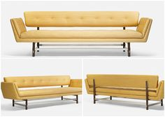 Sofas are a fundamental part for our living rooms. Click on the image to check the living areas of these 5 famous houses. Photo of an Edward Wormley sofa. Manufactured by Dunbar .