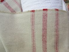 VERY FRENCH Rairoaded Woven French Red Stripe Cotton  one yard min/ need more let us know. $22.50, via Etsy.