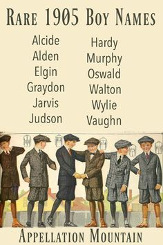 Looking for vintage boy names? Try these rare 1905 boy names. They're a blast from the past, but right at home in too. names vintage boys names vintage classic names vintage girl names vintage retro names vintage uncommon Country Boy Names, Southern Baby Names, Irish Baby Names, Rare Baby Names, Unusual Baby Names, Baby Girl Names, Victorian Baby Names, Vintage Boy Names, Vintage Boys