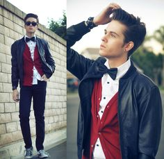 leather jacket, red cardigan, white button-down, bowtie, skinny jeans, bracelet, earring, chucks, and attitude