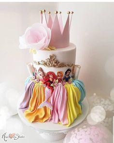 Princess cake, birthday cake, Disney, Disneyland - Motivtorten - Princess c Pretty Cakes, Cute Cakes, Beautiful Cakes, Amazing Cakes, Rodjendanske Torte, Disney Cakes, Birthday Cake Girls, 4th Birthday, Birthday Ideas