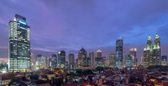 A view from Karet toward the skyline of Sudirman. Shown here the 240 meter high Sinarmas MSIG tower is being under construction.  Jakarta, Indonesia