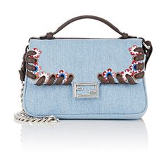 Fendi Women's Double Baguette Micro (€1.750) ❤ liked on Polyvore featuring bags, handbags, blue, leather handbags, flower purse, real leather handbags, genuine leather handbags and leather flap purse