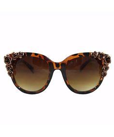 Brown Tortoise Floral Beaded Large Frame Cat Eye Sunglasses