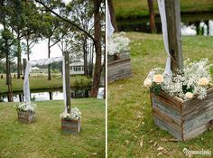 Fill it with baby's breath and peach roses Wedding Props, Wedding Signs, Forest Cottage, Cottage Wedding, Rustic Signs, Table Centerpieces, Photo Booth, Arbour, Outdoor Structures