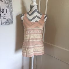 🦎5 for $25🦎F21 lace top 🎀  Lace tank top  🎀 Size small  🎀 Pink and off white 🎀 Gently used 🎀Please ask for additional pictures, measurements, or ask questions before purchase. 🎀No trades or other apps 🎀Ships next business day, unless noted in my closet  🎀Five star rating 🎀Bundle for discount Forever 21 Tops Tank Tops