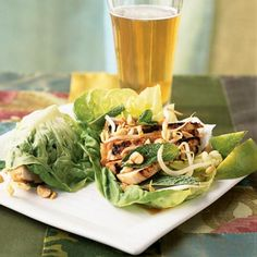 Asian Chicken Lettuce Wraps These chicken-filled lettuce leaves are popular as appetizers in Asian-style bistro restaurants, but two wraps make a satisfying main dish. Go ahead and add the chopped peanuts because they offer monounsaturated fat–a kind of fat thats good for your heart.
