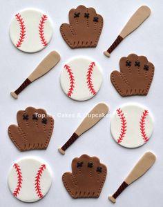 Fondant Cupcake Toppers Baseballs Mitts Bats by TopItCupcakes Fondant Cupcakes, Fondant Toppers, Cupcake Cakes, Cup Cakes, Cricut Cake, Baseball Cupcakes, Baseball Birthday Party, Fondant Decorations, Salty Cake
