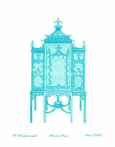 Turquoise Chinoiserie Chippendale Cabinet 11x14 by thepinkpagoda,
