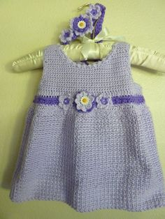 Lavender and purple hand Crocheted Toddler Dress- by: ConniesCapers, $35.00 + shipping
