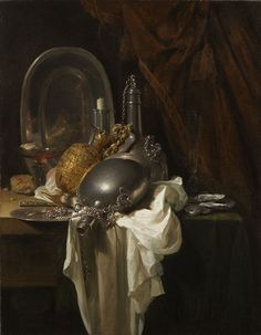 Willem Kalf, A Still Life with Silver, Pewter and Gilt Objects on a partly draped Table on ArtStack #willem-kalf #art