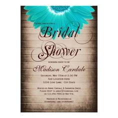 Rustic Teal Gerber Daisy Bridal Shower Invitations on barn wood background