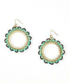 Look what I found on #zulily! Gold & Mint Round Beaded Drop Earrings #zulilyfinds