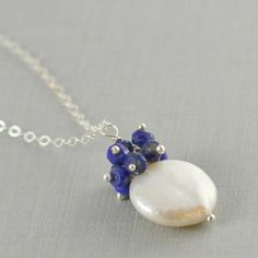 White Coin Pearl Cluster Necklace with by anatoliantaledesign, $38.00