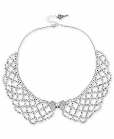 Betsey Johnson Necklace, Silver-Tone Crystal Collar Necklace