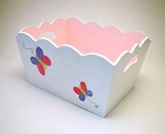 pañalera y organizador para bebés de madera rosa mariposa