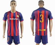2017-2018 Barcelona club #3 PIQUE red blue soccer jersey home