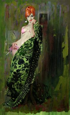 vintag, red hair, green, pink outfits, pulp, pinup, cover art, robert mcginnis, illustr