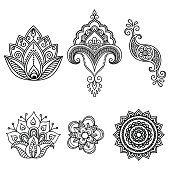 Henna tattoo flower template.Mehndi. Set.