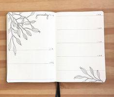 Bullet journal weekly layout, plant drawing, cursive header. | @bujobybertha