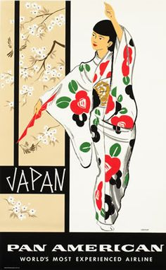Pan Am: 1960 Japan vintage travel poster  Geisga girl