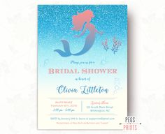 Glitter Mermaid Bridal Shower Invitation (Printable) Under the Sea Bridal Shower Invitation - Fairytale Bridal Shower Invitation - Coral by PegsPrints on Etsy
