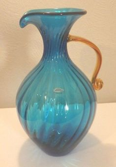 Beautiful Reef Blue Amber Applied Handle Swirl Design Blenko Glass Pitcher  Vase